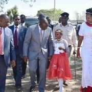 Namunyak meets the chief guest during the graduation ceremony at Maasai Mara University in the company of the Narok County Governor and Woman Representative